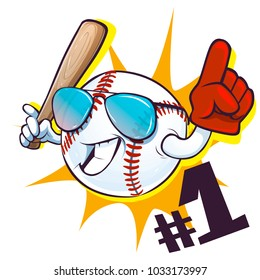 Baseball character. Card, poster, print for t-shirt, logo, banner, design element. Vector illustration.