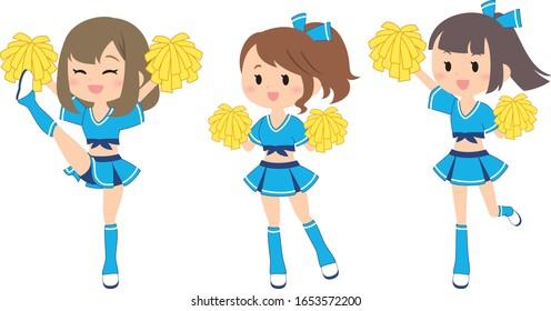 baseball cheerleader cartoon vector illust
