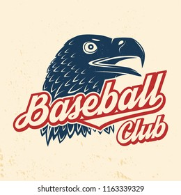 Baseball club badge. Vector illustration. Concept for shirt or logo, print, stamp or tee. Vintage typography design with golden eagle and baseball club text silhouette.