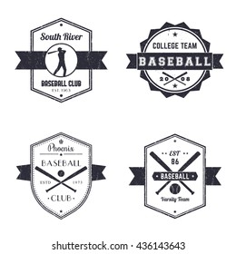 Baseball club, team vintage logo, badges, baseball player with bat, crossed baseball bats and ball, vector illustration