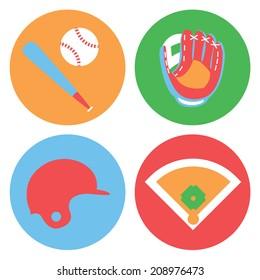 Baseball collection / Vector illustration / Baseball icons set / Flat design
