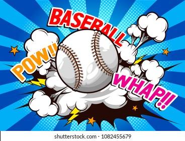 Baseball, Comic speech, Vector illustration.