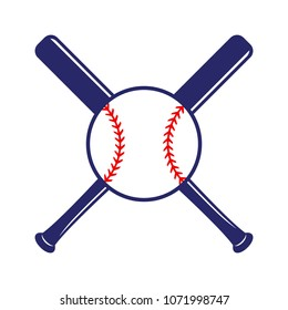 Baseball crossed bats with ball. Criss cross bats. Baseball flat vector illustration