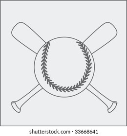 baseball and crossed bats sketch