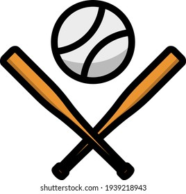 Baseball Crossed Buts And Ball Icon. Editable Thick Outline With Color Fill Design. Vector Illustration.