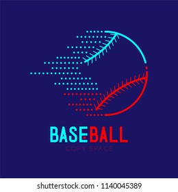 Baseball dash logo icon outline stroke set dash line design illustration isolated on dark blue background with baseball text and copy space