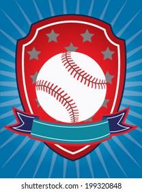 Baseball design in vector for shirt or card