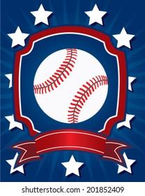 Baseball design in vector for shirt, card or press