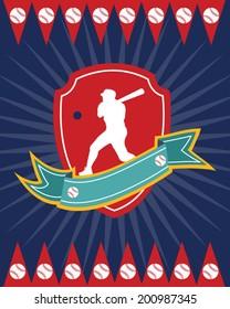 Baseball design in vectors for shirt or card