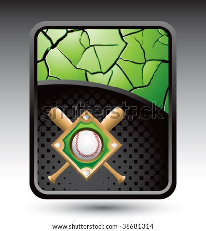 baseball diamond on green cracked banner stock vector royalty free