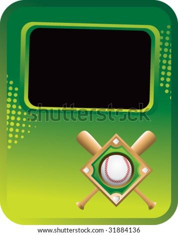 Baseball Diamond On Green Template Banner Stock Vector Royalty Free