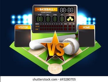 Baseball Diamond and Baseball Scoreboard. VS Battles.