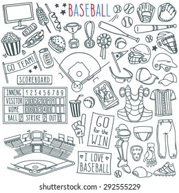 Baseball doodle set. Special equipment, player's clothing, baseball field diagram, stadium view, fan's banners and signs. Hand drawn vector illustration isolated over white background.