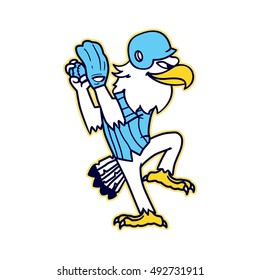 Baseball eagle pitcher cartoon vector