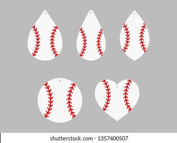 Baseball earrings. Softball. Baseball lace. Sport ball leather earring templates. Vector illustration