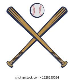 Baseball emblem with baseball bats and a baseball in a traditional style. Vector illustration
