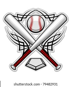 Baseball emblem for sports design or mascot, such a logo. Jpeg version also available in gallery