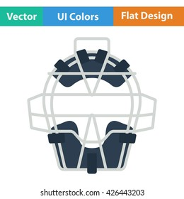 Baseball face protector icon. Flat design. Vector illustration.