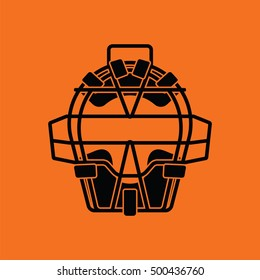 Baseball face protector icon. Orange background with black. Vector illustration.