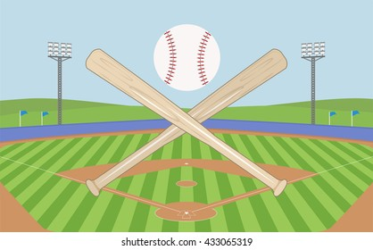 baseball field with baseball bats and flying ball for banner , logo vector