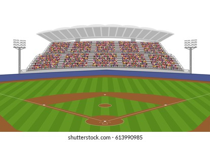 Baseball Field with Crowd on Grandstand. Isolated White Background Vector
