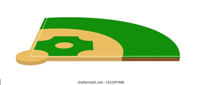 Baseball field isometric vector illustration on white
