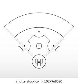 Baseball field markup. Outline of lines on an baseball field. Vector illustration.