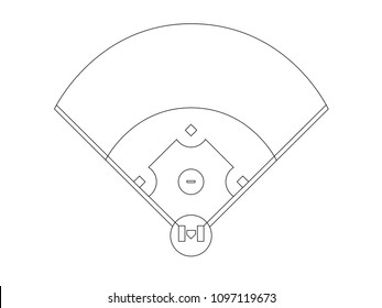 Baseball field overview line drawing vector