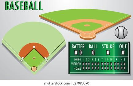 baseball field with scoreboard.