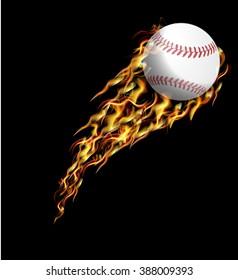 Baseball in fire.
