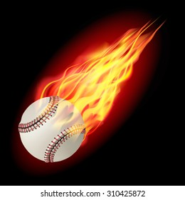 Baseball in fire flying down. Isolated on dark background. Vector illustration