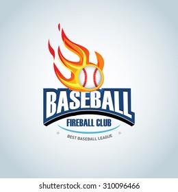 baseball fireball sport badge logo design stock vector royalty free
