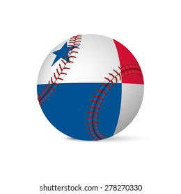 Baseball with flag of Panama, isolated on white background. Vector EPS10 illustration.