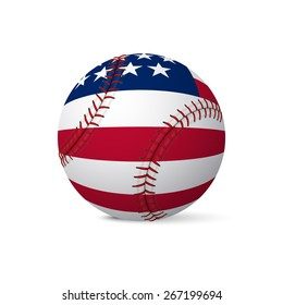 Baseball flag of USA isolated on white background. Vector EPS10 illustration.