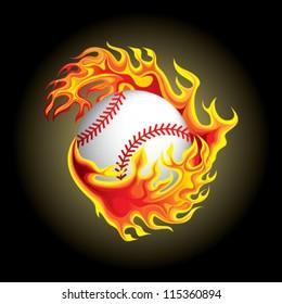 baseball in flame