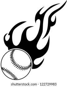 baseball with flame design elements
