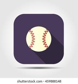 baseball flat icon with long shadow, vector illustration