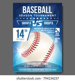 Baseball Flyer Vector. Sport Event Baseball Tournament Poster Announcement. Banner Advertising. Professional League. Event Invite Illustration