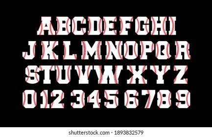Baseball Font and Number Vector and Clip art