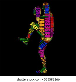 baseball football Typography word cloud colorful Vector illustration