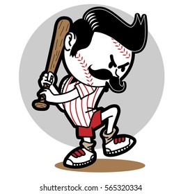 baseball funny boy_ vector illustrator