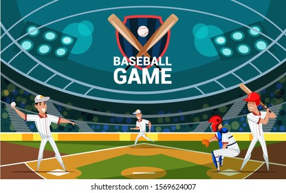 Baseball game flat banner vector template. Professional players, batter, pitcher, catcher cartoon characters. Team sport tournament, competition. Championship match illustration with typography