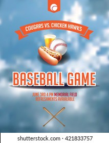 Baseball game invitation poster design. EPS 10 vector.