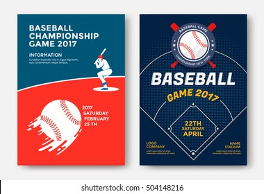 Baseball game modern sports posters design. Vector illustration.
