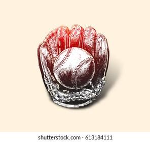 Baseball glove with ball - Hand Drawn Sketch Vector illustration. Softball.