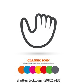 Baseball glove or mitt sign icon. Sport symbol. Classic flat icon. Colored circles. Vector