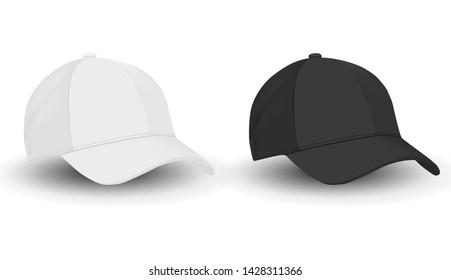Baseball hat. Black and White Sport Cap Mockup Set. Front view Apparel Template on White Background. Merchandise Uniform Wear. Realistic Design Cotton Baseball Cap. Basic Rap Textile Jeans Hat.