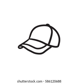 Baseball hat sketch icon for web, mobile and infographics. Hand drawn baseball hat icon. Baseball hat vector icon. Baseball hat icon isolated on white background.