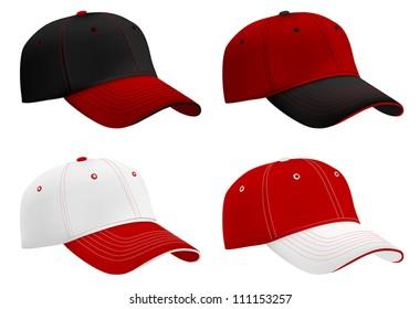 Baseball hats template. Mesh & gradients.
