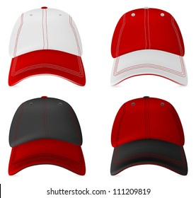 Baseball hats template. Mesh, gradients.